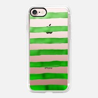 Jolly Green Stripes (transparent) iPhone 7 Case by Lisa Argyropoulos | Casetify