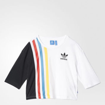 """Adidas"" Multicolor Stripe Print Stitching Net Cloth Round Neck Short Sleeve Casual Women T-shirt"