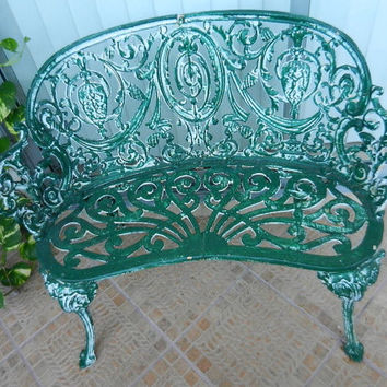 Architectural settee & 2 side chairs ornamental cast iron patio set - loveseat bench/ 2 chairs - vintage ornate heavy metal- Florida pickup