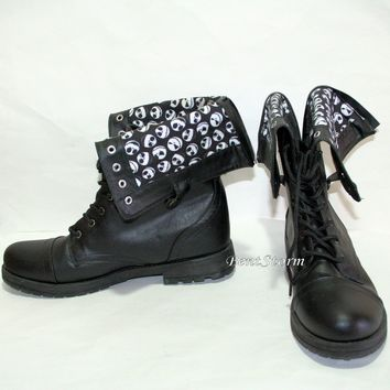 Licensed cool DISNEY Jack The Nightmare Before Christmas COMBAT BOOTS WOMENS Fold Over SHOES