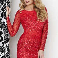 Short Beaded Dress with Long Sleeves by Hannah S