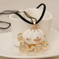 Sweet White Little Pumpkin Carriage Ladies Necklace : Wholesaleclothing4u.com