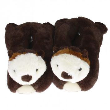 Wishpets Brown Sea Otter Slippers
