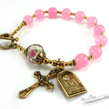 Gold Pink Rosary bracelet pink rosary single decade rosary Confirmation gifts Catholic Rosaries gold rosary Our Lady of Medjugorje Medal