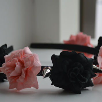 Black and Soft pink roses Flower crown metal spikes hair band head band mix color