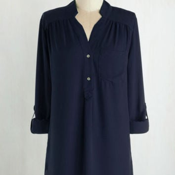 Long 3 Pam Breeze-ly Tunic in Navy