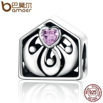 Genuine 925 Sterling Silver Loving Home House & Family Together Heart Beads fit Women Charm Bracelets Jewelry Gift SCC255