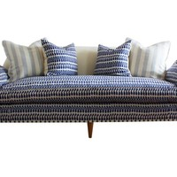 "Annelise 84"" Sofa, Indigo/Cream"