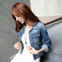 Women Jeans Jackets Short Tops 2015 Spring Autumn Long Sleeve Denim Coat Vintage Ripped For Women Clothing chaquetas mujer