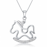 Sterling Silver Rocking Horse W. Cubic Zirconia Pendant Necklace