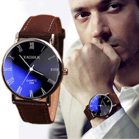 Brand New Brown Luxury Fashion Faux Leather Mens Quartz Analog Watch Casual Male Business Watches Top Quality