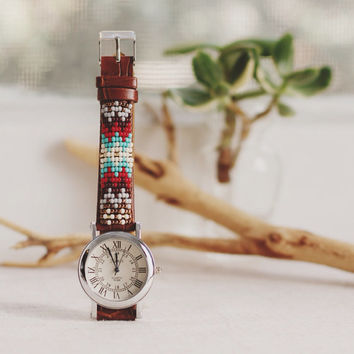 BW-13, Free U.S shipping,Native American inspired hand-beaded watch.brown,leather,handmade,hippie,boho