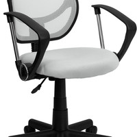 Mid-Back White Mesh Task Chair and Computer Chair with Arms