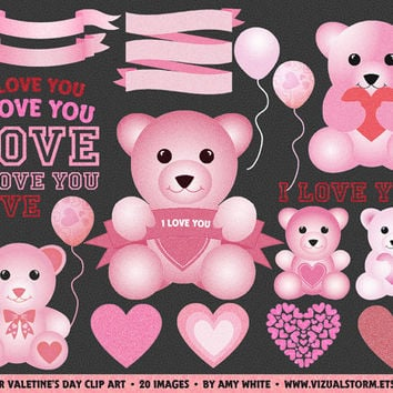 Valentine's Day Clip Art, pink glitter teddy bears, banners, hearts, i love you text and balloons, Instant Download, Buy 2 Get 1 Free