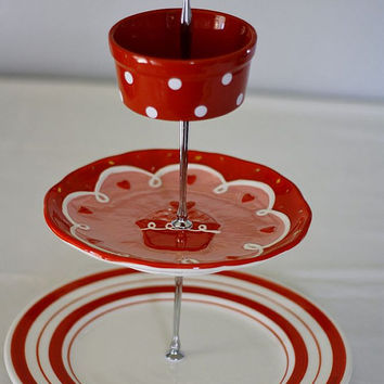 3 tier cake stand, fruit stand, jewelry stand. Red and white cupcake stand