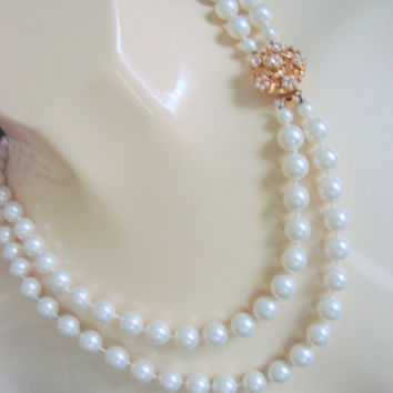 60s Vintage Simulated (Glass) Pearl Bead Necklace (Ornate Rhinestone Clasp)