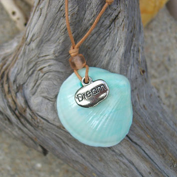 Inspirational Dream Charm Seashell Necklace, Mermaid Jewelry, Gifts for the Beach Lover, Nautical Necklace, Dream Big, Motivational Necklace