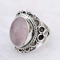 rose quartz stone ring, silver ring, stone ring,  silver rose quartz ring, 92.5 sterling silver,  rose quartz stone Silver Ring, RNSLRQ204