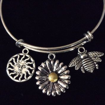 Two Toned Daisy Bee Sun Charm Adjustable Expandable Bangle Bracelet Silver Wire Bangle Stacking Bangle Trendy Gift Sunshine