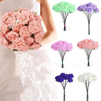 ac VLXC Hot Wedding Bridal Bridesmaid Bouquet 10 Artificial Foam Rose Flowers Decorations