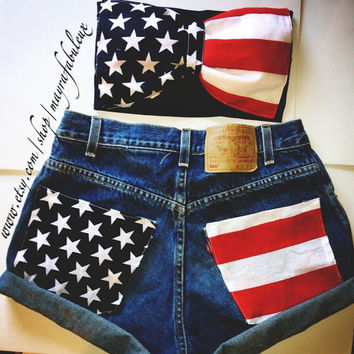 Any Size American Flag High Waisted Shorts