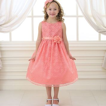 Coral Solid Lace Flower Girl Dress with Satin Ribbon