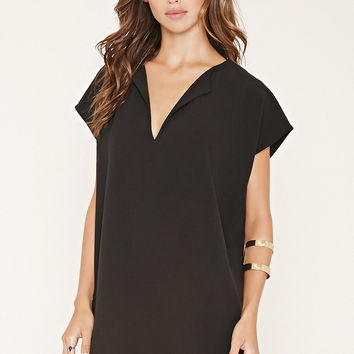 Split Neck Crepe Dress