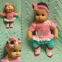 "15 inch Baby Doll Clothes ""I Melt Daddy's Heart"" doll outfit Will fit Bitty Baby® Cabbage Patch dress leggings socks headband ice cream A4"