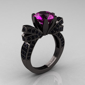 French 14K Black Gold 3.0 CT Amethyst Black Damond Engagement Ring, Wedding Ring R382-14KBGBDAM