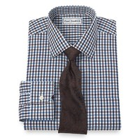Non-Iron 2-Ply 100% Cotton Gingham Spread Collar Dress Shirt from Paul Fredrick | Paul Fredrick