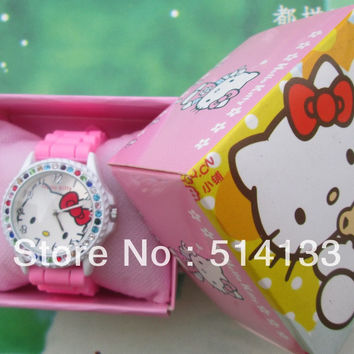 Lovely children watch girls girls students belt hello Kitty cat fashion diamond table  in box 1pcs