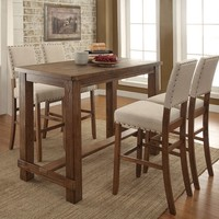 5 pc Sania collection contemporary style natural tone finish wood bar height dining table set with padded chairs