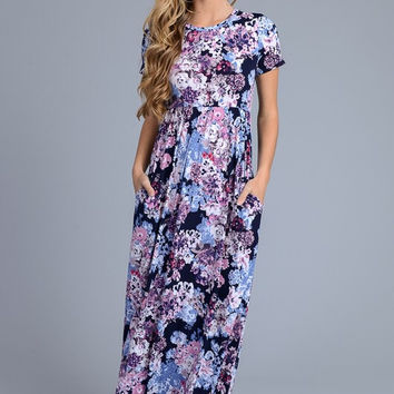 Short Sleeve Floral Maxi Dress - Purple Floral