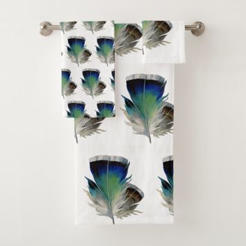 Blue Green Feather Towel Set