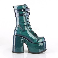 Camel 250 Green Purple Patent Lace Up Goth Platform Boot 6-12