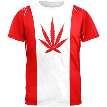ESBGQ9 Canada Flag Pot Leaf Marijuana All Over Mens T Shirt