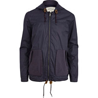 River Island MensNavy casual hooded bomber jacket