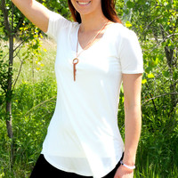 Perfect Fit V-Neck Tee - Ivory