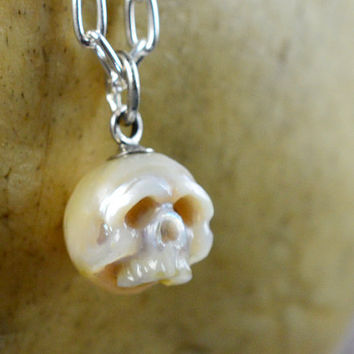 READY TO SHIP - Carved Pearl Skull Necklace - Pearl Skull with Silver Bail - Halloween Jewelry - Halloween Necklace - Skull Pearl