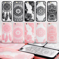 Hollow TPU Frame+PC Back Case Retro Vintage Flower Pattern Fashion Luxury Phone Cases
