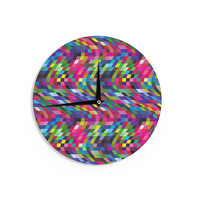 "Dawid Roc ""Colorful Geometric Movement 1"" Multicolor Abstract Wall Clock"