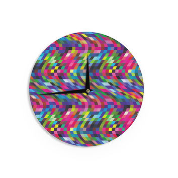 """Dawid Roc """"Colorful Geometric Movement 1"""" Multicolor Abstract Wall Clock"""