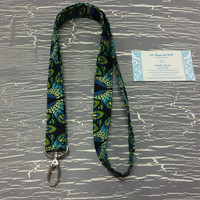 Peacock Fabric Lanyards, Long Lanyards, Custom Lanyard, Women's Lanyard, Women's Key Chain