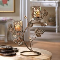 Wise Owl Duo Votive Candle Stand