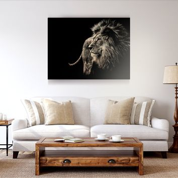 Black and White Lion Wooden Wall Decor