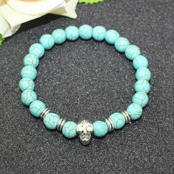8mm Natural Turquoise Stone Beads Bracelet for Women,Antique Silver and Gold Lion/Buddha/Leopard/Skull Bracelets Mens Jewelry vintage silver skull