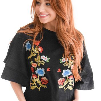Smell The Flowers Embroidered Top