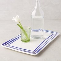Prussian Stripe Tray by Anthropologie in Royal Blue Size: One Size Decor