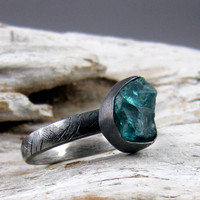 Apatite Textured Silver Ring by ElementalAlchemist on Etsy
