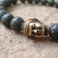 Mens Bracelet,Buddha Bracelet,Semiprecious Stone,Russian Jade Bracelet,Gifts for Men,Handmade Jewelry